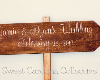 Ceremony Wooden Wedding Sign - Hand Painted Reclaimed Wood Bride and Groom Directional sign WS-90
