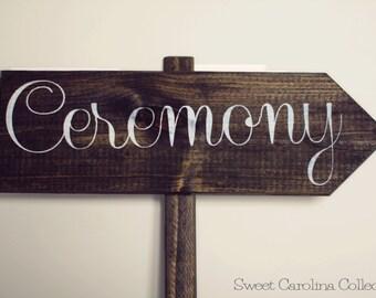 Wedding Direction Signs with Dark Walnut Stain - Ceremony - WS-48