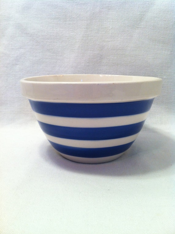 Vintage Blue And White Striped Pottery Mixing Bowl Made In