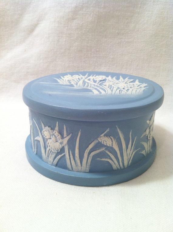 Wedgewood Blue Jasperware Style Ceramic Trinket Box Powder Box