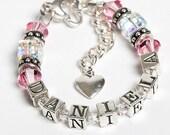 PERSONALIZED Newborn Bracelet, Girls' Jewelry, Cube Style, Name Bracelet