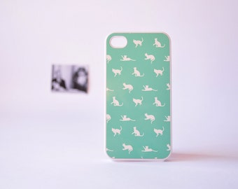 iPhone 4 Case - iPhone 4s Case - Cat iPhone Case in Mint Green - Cute Plastic iPhone Case for Girls - Mint Green iPhone Case