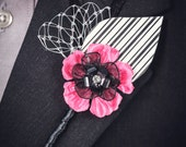 Hot Pink, Black, and White Paper Flower and Feather Boutonniere