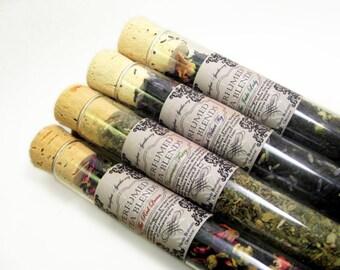 Perfumed Tea Blends- .75oz Vials. Pick Your Potion: Jasmine Earl Gey, Absinthe Mate, Rose Strawberry Black, Fig Frankincense Oolong.