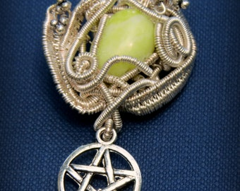 Magical: Serpentine handmade wire wrapped pendant