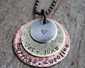 Custom Family Necklace in Three Metals, Copper, Brass, Nickel Pendant Fully Customizable for Moms