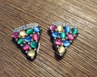 Vintage 1930s Pastel Moonglow Rhinestone Dress Clip Pair Lidz Bros.
