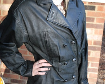 Black Leather Peacoat, Steampunk Style, Dieselpunk, Mod