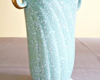 Art Deco Turquoise and Gold Crown Devon Splatterware Vase (Made in England)
