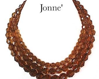 Vintage Jonne House of Schrager Topaz 3 Strand Glass Bead Necklace - Dark Topaz Necklace - Bead Necklace - Vintage Jewelry