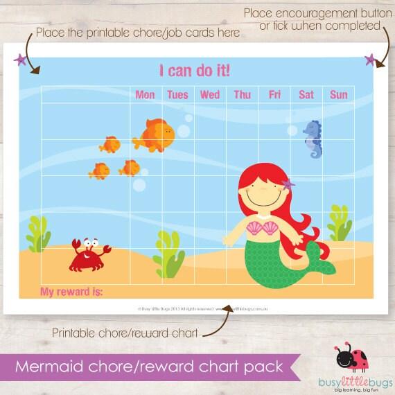 Mermaid Chore Reward Chart Pack Automatic By