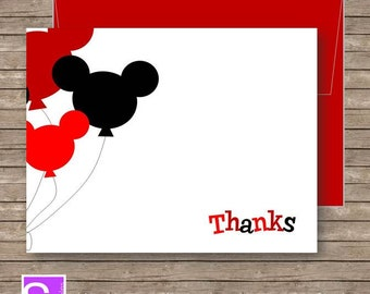Mickey Mouse Thank You Card - Red - Thank You Card - Printable