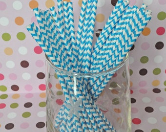 Paper Straws - Blue Chevron Party Straws and Coordinating DIY Straw Flag PDF