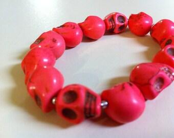 Bubblegum Pink Day of the Dead Skull Bracelet