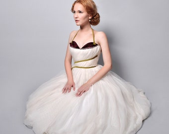 Retro Couture Wedding Dress - Ivory and White silk organza with Cherry sweetheart bust. Custom.
