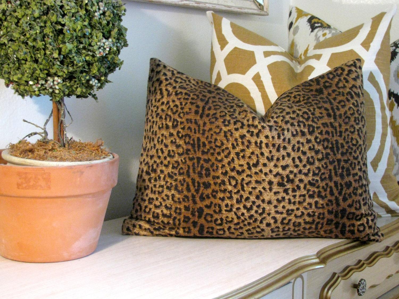 Animal Print Lumbar Pillow : Brown Leopard Animal Print Designer Pillow Cover