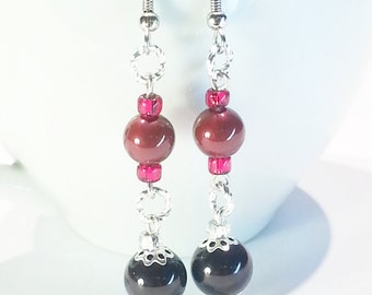 Dangle Earrings Red Black Swarovski Crystal Pearls Gifts for Her 417