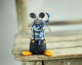 A Little Felt Mouse Sailor With A Blue Bandana  - Needle Felted Mouse - Art Doll