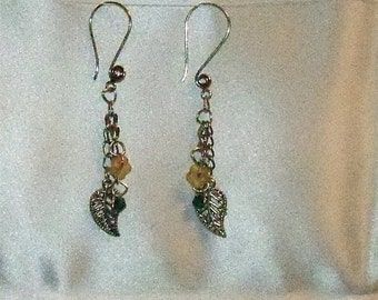 Chainmaille Earrings with Silver Leaf Charms and Yellow Glass Beads