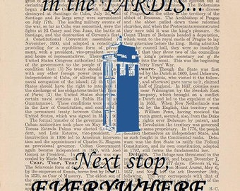 Doctor Who Art: The Doctor in the TARDIS, Next Stop Everywhere (Dictionary Art Print)