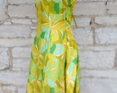 1960s Chartreuse Green Floral Party Mini Party Dress with Sparkly Neck Line / Small Size / Mod Hippie Fashion