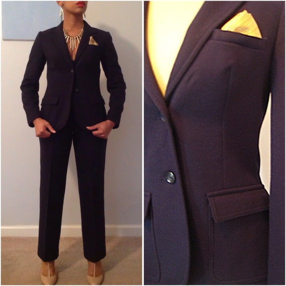 Items similar to 1960s Women's Navy Blue Wool Tailored Pant Suit