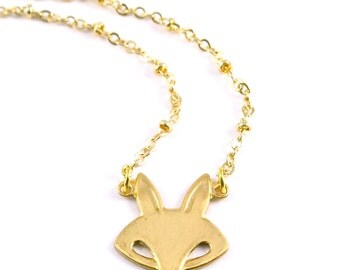 Golden Fox Necklace, Retro Fox Necklace, Little Brass Fox