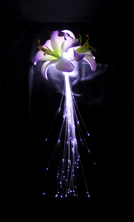 Light Up Fiber Optic Flower Hair Clip Solid By Pinkhalodesigns