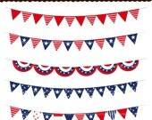 50% sale, 4th of July bunting digital clip art , pleated fan bunting clip art , INSTANT DOWNLOAD Holiday Bunting , Flag BUNTING