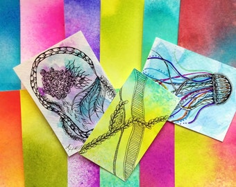 Beautiful Watercolored ATCs, Set of 10 Ready For Your Artwork