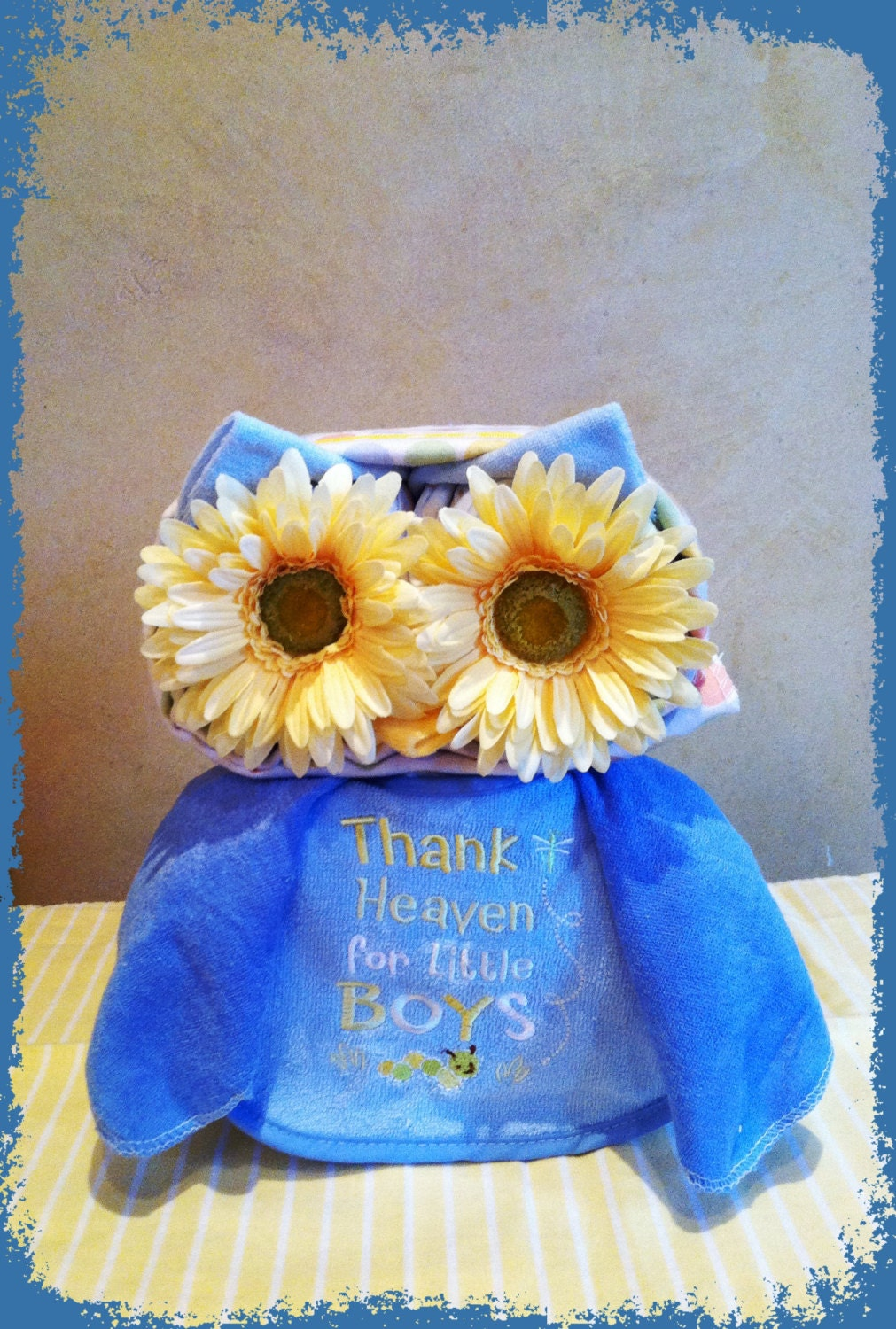 Owl Diaper Cake Decorations : Blue Owl Diaper Cake Owl Baby Shower Blue by ...
