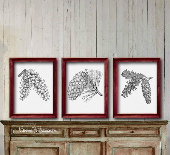 Rustic Home Wall Decor Nature Print Woodland Art Vintage Pine Cone