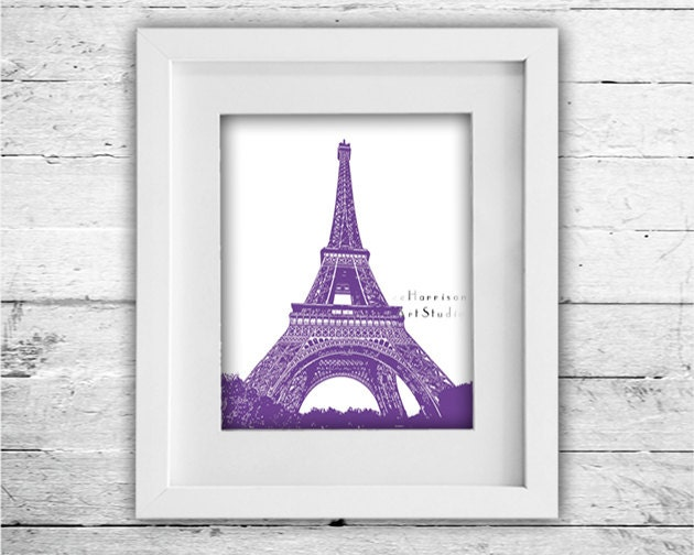 Paris Eiffel tower French wall decor Modern art by EEartstudio