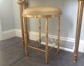 Reserved for Natashacoblentz -- Faux Bamboo Stool with Vinyl Upholstered Seat
