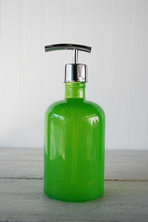 Green Recycled Glass Soap Dispenser Green Apple By Rail19