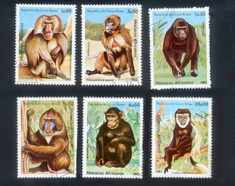 Monkey Postage Stamps - Guinea-Bissau - Collage, Mixed Media, Artist Trading Cards