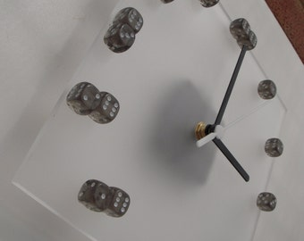 Smoke grey dice on frosted acrylic square wall clock