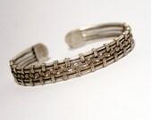 silver cuff bracelet - men's bracelet - bracelet man cuff -wire wrapped bracelet - cuff bracelet-wire wrapped jewelry handmade