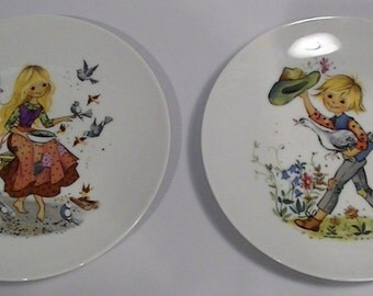 Sorrena Porcelain Decorative Plate Peasant Boy and Peasant Girl  by Gottschlich