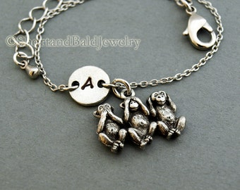 Three Monkeys bracelet, three wise monkeys, see no evil hear no evil speak no evil, initial, friendship, adjustable, monogram