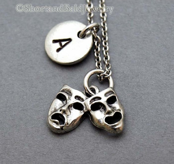 Comedy Tragedy Masks Necklace Theatre Charm By