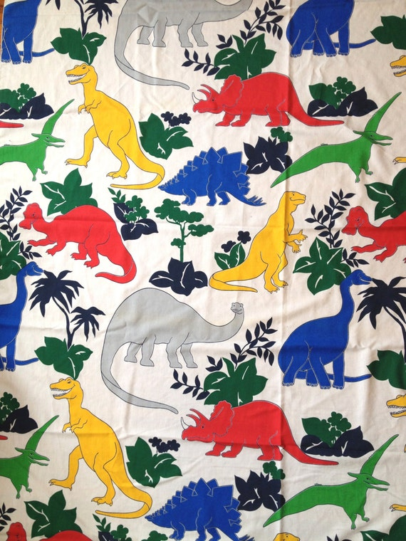 Colorful Dinosaurs Twin Flat Sheet 80s