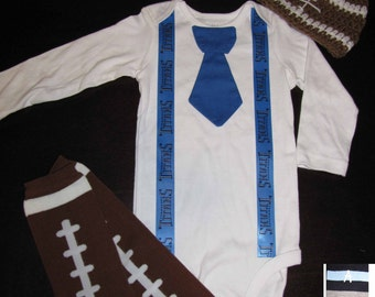 TENNESSEE TITANS inspired football outfit for baby boy - tie bodysuit with suspenders, crochet hat, leg warmers