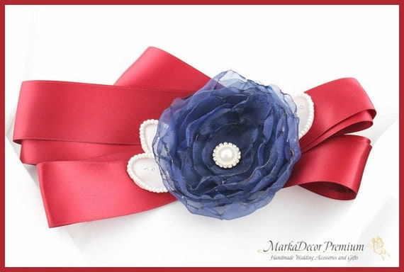 Flower Girl Sash/ Custom Belt / Baby Sash / Girl Belt in Red Brick, Navy and White with Handmade Flower, Sparkly Brooches, Pearls, Crystals