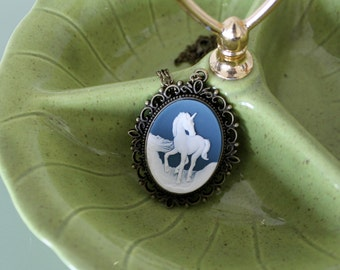 Unicorn Cameo Necklace on a Filigree Base