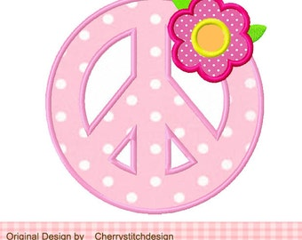"""Peace Sign with flowers Machine Embroidery Applique - 4x4 5x5 6x6"""""""