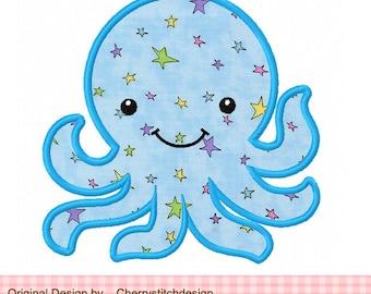 "Octopus Machine Embroidery Applique Design - 4x4 5x5 6x6"""