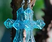 Le Cimetière au Printemps - Blue Cross Earrings