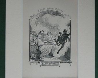 Original 1879 Ingoldsby Legends Matted Print - Hell - Devil - St Nicholas - Demon - Antique Book Illustration - Lucifer