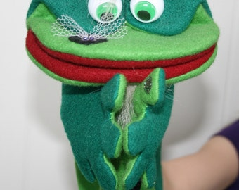 Ronnie Ribbit Hand Puppet, green frog, music note, clapping hands, moving mouth, puppet show, pretend play, music teacher gift, educational